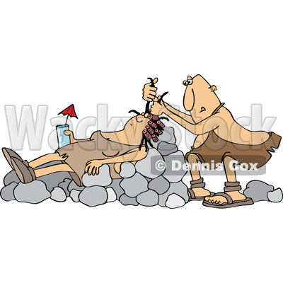 Clipart of a Cartoon Cave Woman Holding a Drink, Laying on Boulders Nad Getting Her Hair Done - Royalty Free Vector Illustration © djart #1425410