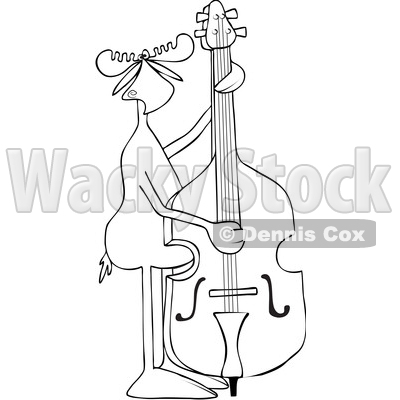 Clipart of a Cartoon Black and White Lineart Moose Playing and Plucking a Double Bass - Royalty Free Vector Illustration © djart #1425900
