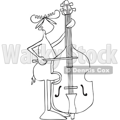 Clipart of a Cartoon Black and White Lineart Moose Playing a Double Bass with a Bow - Royalty Free Vector Illustration © djart #1425901