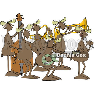 Clipart of a Cartoon Musician Moose Jazz Band - Royalty Free Vector Illustration © djart #1426140
