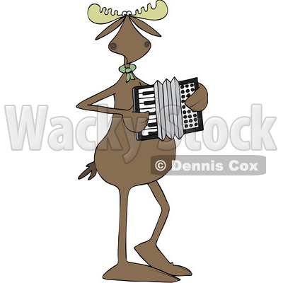 Clipart of a Cartoon Musician Moose Playing an Accordion - Royalty Free Vector Illustration © djart #1426141