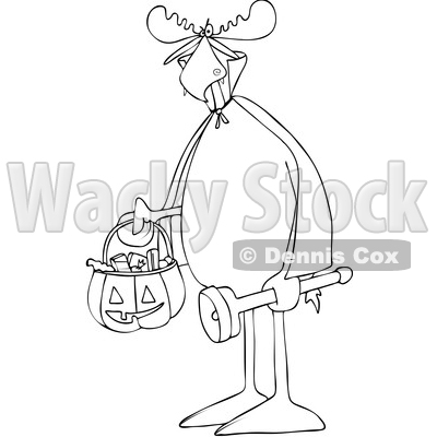 Clipart of a Cartoon Black and White Lineart Moose Trick or Treating in a Vampire Halloween Costume - Royalty Free Vector Illustration © djart #1427808