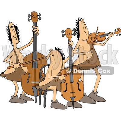 Clipart of a Cartoon Caveman Orchestra with a Double Bass, Cello and Violin - Royalty Free Vector Illustration © djart #1431315