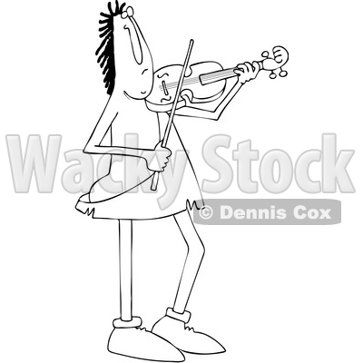 Clipart of a Cartoon Black and White Lineart Caveman Musician Playing a Violin or Viola - Royalty Free Vector Illustration © djart #1431321
