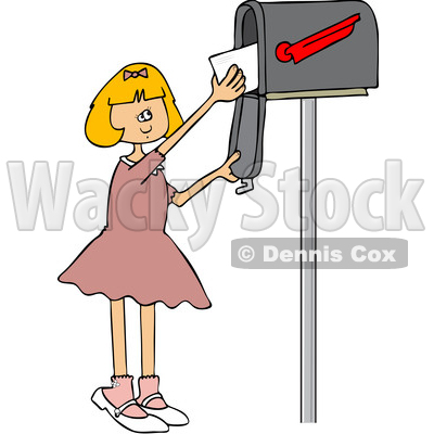 Clipart of a Cartoon Happy White Girl Getting Letters from a Mailbox - Royalty Free Vector Illustration © djart #1432697