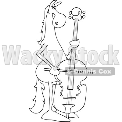 Clipart of a Cartoon Black and White Lineart Horse Musician Playing a Double Bass - Royalty Free Vector Illustration © djart #1432819