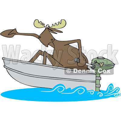 Clipart Of A Cartoon Moose In A Speed Boat Royalty Free Vector Illustration C Djart 1432823