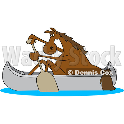 Clipart of a Cartoon Brown Horse Paddling a Canoe - Royalty Free Vector Illustration © djart #1432896