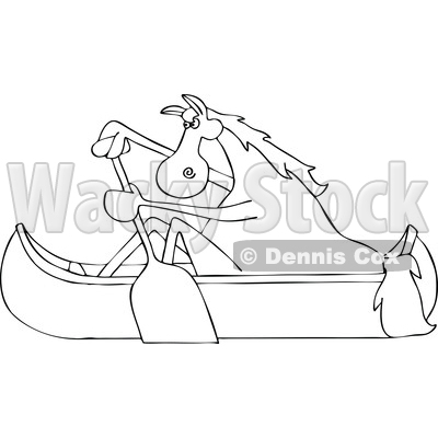 Clipart of a Cartoon Black and White Lineart Horse Paddling a Canoe - Royalty Free Vector Illustration © djart #1432897