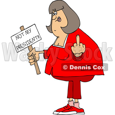 Clipart of a Cartoon Chubby White Woman Holding up a Middle Finger and Not My President Sign - Royalty Free Vector Illustration © djart #1432905