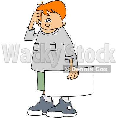 Clipart of a Cartoon Confused White Boy Protestor Holding a Sign - Royalty Free Vector Illustration © djart #1433895