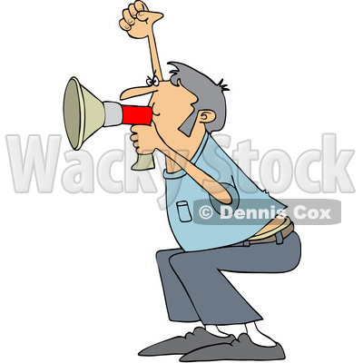 Clipart of a Cartoon White Male Protester Shouting into a Megaphone - Royalty Free Vector Illustration © djart #1433900
