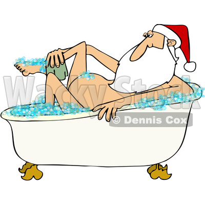 Clipart of a Cartoon Santa Claus Washing up in a Bubble Bath - Royalty Free Vector Illustration © djart #1433904