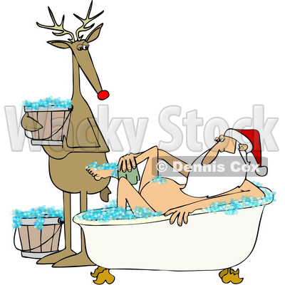 Clipart of a Cartoon Reindeer Holding a Bucket and Watching Santa Claus Washing up in a Bubble Bath - Royalty Free Vector Illustration © djart #1433906