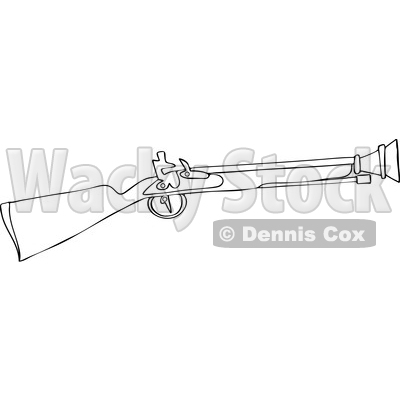 Clipart of a Cartoon Black and White Lineart Blunderbuss Gun - Royalty Free Vector Illustration © djart #1433908