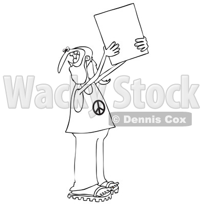 Clipart of a Cartoon Black and White Male Hippie Protestor Wearing a Peace Shirt and Holding up a Blank Sign - Royalty Free Vector Illustration © djart #1434137