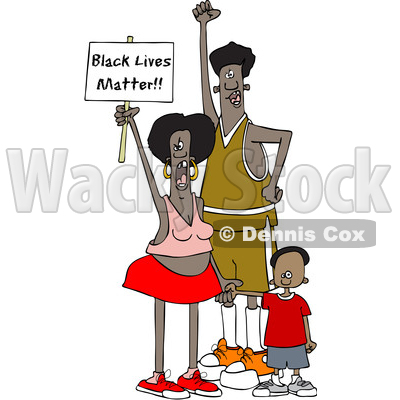 Clipart of Cartoon Mother and Father Protesters with Their Son, Shouting and Holding up a Black Lives Matter Sign - Royalty Free Vector Illustration © djart #1434144