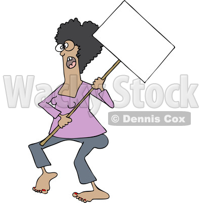 Clipart of a Cartoon Black Female Protestor Wearing Spectacles and Holding a Blank Sign - Royalty Free Vector Illustration © djart #1434150