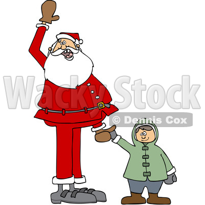 Clipart of a Cartoon Christmas Santa Claus Holding a White Boy's Hand and Waving - Royalty Free Vector Illustration © djart #1434252