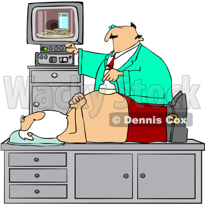 Clipart of a Doctor Giving Santa Claus an Ultrasound on His Belly and Seeing Cookies and Milk on the Screen - Royalty Free Vector Illustration © djart #1434536