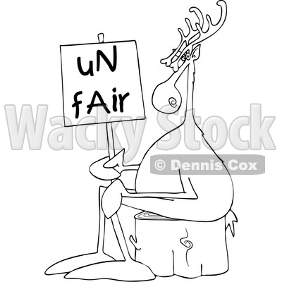 Clipart of a Cartoon Black and White Lineart Christmas Reindeer on Strike, Sitting on a Stump with an Unfair Sign - Royalty Free Vector Illustration © djart #1437932