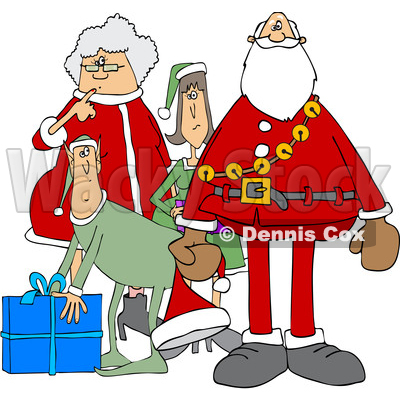 Clipart of a Cartoon Christmas Santa Claus with the Mrs and Elves - Royalty Free Vector Illustration © djart #1437936
