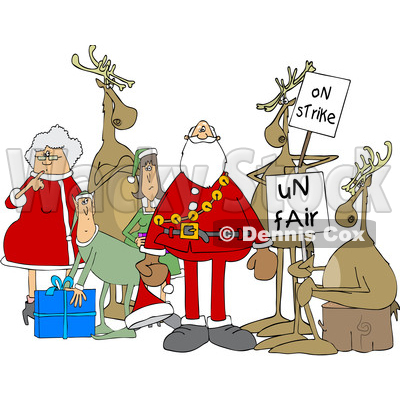 Clipart of a Cartoon Christmas Santa Claus with the Mrs, Elves and Protesting Reindeer - Royalty Free Vector Illustration © djart #1437938