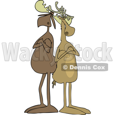 Clipart of a Cartoon Moose and Reindeer with Folded Arms, Standing Back to Back - Royalty Free Vector Illustration © djart #1438736