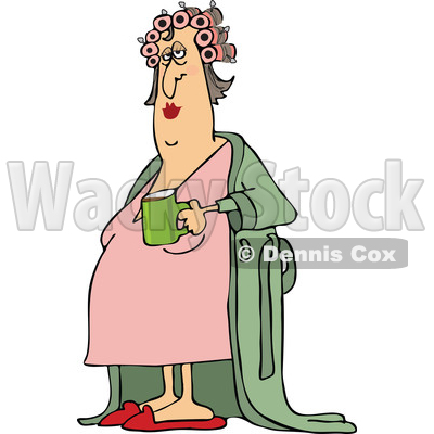 Clipart of a Cartoon Chubby White Woman in a Robe, Wearing Curlers and Holding a Cup of Morning Coffee - Royalty Free Vector Illustration © djart #1441015