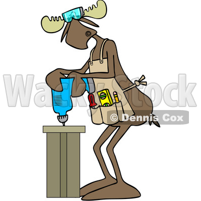 Clipart of a Cartoon Moose Operating a Power Drill in a Shop - Royalty Free Vector Illustration © djart #1442126