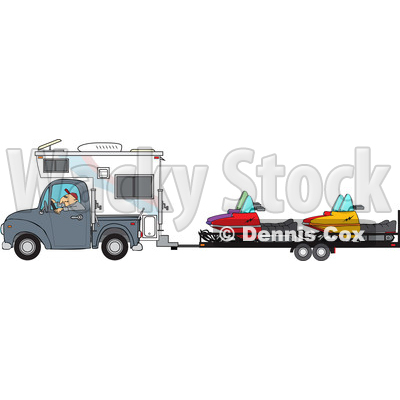 Clipart of a Cartoon Caucasian Man Driving a Truck and Camper and Towing Snowmbiles on a Trailer - Royalty Free Vector Illustration © djart #1443242