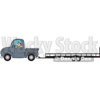Clipart of a Cartoon Caucasian Man Driving a Truck and Towing a Trailer - Royalty Free Vector Illustration © djart #1443244