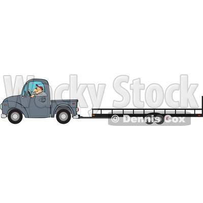Clipart of a Cartoon Caucasian Man Driving a Truck and Towing a Trailer - Royalty Free Vector Illustration © djart #1443260