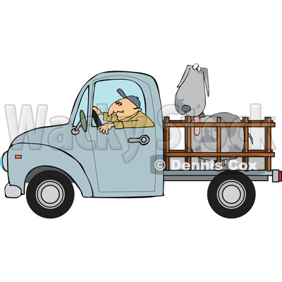 Clipart of a Cartoon White Man Driving a Blue Pickup Truck and Hauling a Big Dog - Royalty Free Vector Illustration © djart #1443261