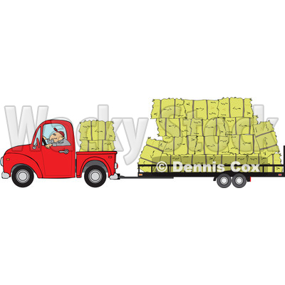 Clipart of a Cartoon White Man Driving a Red Pickup Truck and Hauling Hay Bales on a Trailer - Royalty Free Vector Illustration © djart #1443266