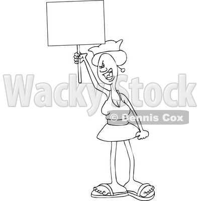 Clipart of a Cartoon Black and White Lineart Angry Woman Shouting, Wearing a Pussy Hat and Holding a Blank Sign at the Womens March - Royalty Free Vector Illustration © djart #1443268