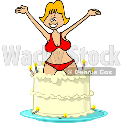 Clipart of a Cartoon Blond White Woman in a Bikini, Popping out of a Birthday Cake - Royalty Free Vector Illustration © djart #1444944
