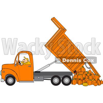 Clipart Of A Cartoon Caucasian Man Operating An Orange Hydraulic Dump Truck And Dumping Pumpkins