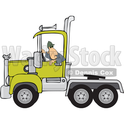 Clipart of a Cartoon White Male Truck Driver Backing up a Semi Tractor Cab Unit - Royalty Free Vector Illustration © djart #1446375