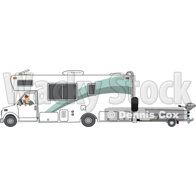 Clipart of a Cartoon White Man Backing up a Class C Motorhome and Towing a Boat - Royalty Free Vector Illustration © djart #1446908