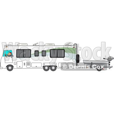 Clipart Of A Cartoon White Man Driving Motorhome And Towing Fishing Boat