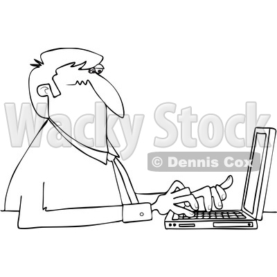 Clipart of a Cartoon Black and White Lineart Business Man Typing on a Laptop Computer - Royalty Free Vector Illustration © djart #1448292