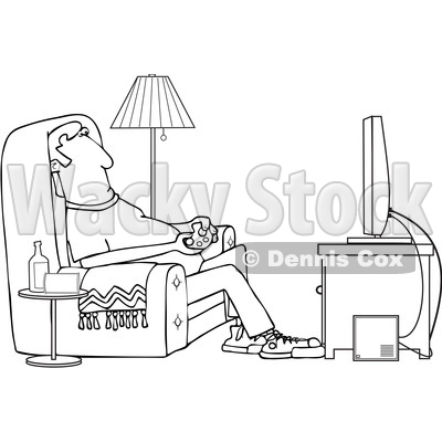 Clipart of a Cartoon Black and White Lineart Man Paying Video Games in His Living Room - Royalty Free Vector Illustration © djart #1448293