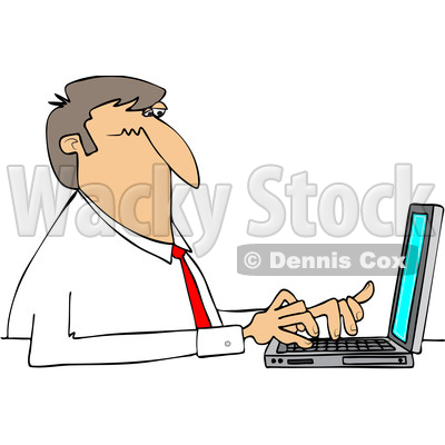 Clipart of a Cartoon White Business Man Typing on a Laptop Computer - Royalty Free Vector Illustration © djart #1448295