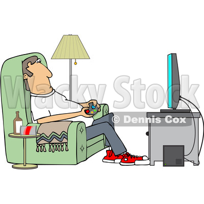 Clipart of a Cartoon Caucasian Man Paying Video Games in His Living Room - Royalty Free Vector Illustration © djart #1448296