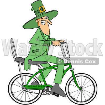 Clipart of a Cartoon St Patricks Day Leprechaun Riding a Bicycle - Royalty Free Vector Illustration © djart #1448297