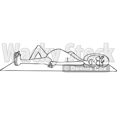 Clipart Graphic of a Cartoon Black and White Lineart Happy Pregnant Woman Sun Bathing on a Beach Towel - Royalty Free Vector Illustration © djart #1451405