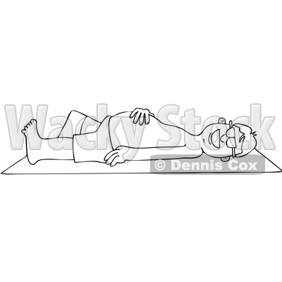Clipart Graphic of a Cartoon Black and White Lineart Happy Man Sun Bathing on a Beach Towel - Royalty Free Vector Illustration © djart #1451408