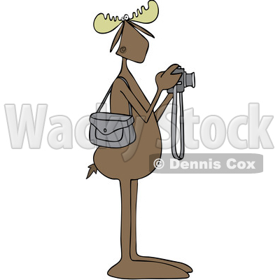 Clipart Graphic of a Cartoon Moose Photographer Taking Pictures with a Camera - Royalty Free Vector Illustration © djart #1451455
