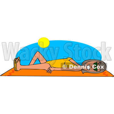 Clipart Graphic of a Cartoon Cartoon Happy White Woman Sun Bathing on a Beach Towel - Royalty Free Vector Illustration © djart #1451486